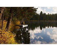 Serene Lake docked Canoe  Photographic Print