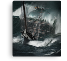 the polly woodside foundering in wild seas Canvas Print