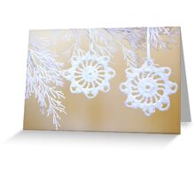 Two White Snowflakes Greeting Card