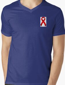 Classic AIDS Awareness Red Ribbon Mens V-Neck T-Shirt