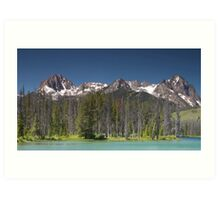 Sawtooth Mountains and Glacial filled Lake in Idaho Art Print