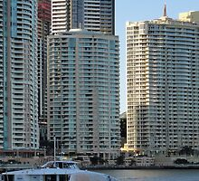 Brisbane River with buildings and ferry by STHogan