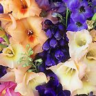 Glads & Delphiniums, August, Detail #1 by Suzanne Lewis