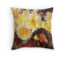 Yellow Roses with Laurel Cherry #3 Throw Pillow