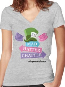 Mad Hatter Chatter Women's Fitted V-Neck T-Shirt