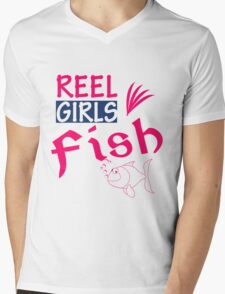 REEL GIRL FISH Mens V-Neck T-Shirt