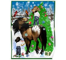 A Horse and Kid Christmas Poster