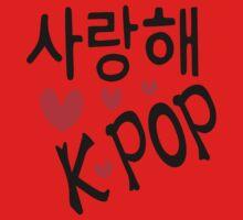 I LOVE KPOP in Korean language txt hearts vector art  Kids Clothes