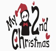 My 2nd Christmas penguin vector art  Kids Tee