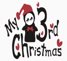 My 3rd Christmas txt penguin vector art One Piece - Short Sleeve