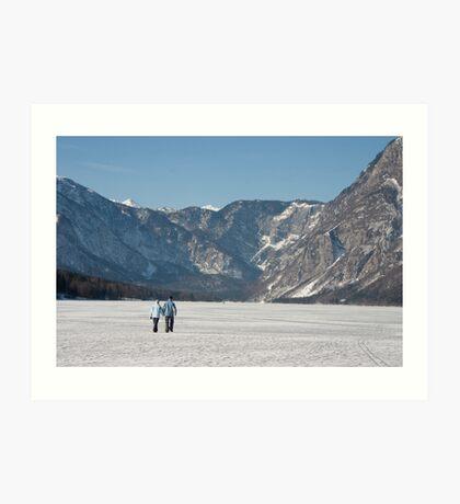 Across the frozen lake Art Print