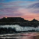 Sunset over Cape Town - Oil Painting by Avril Brand