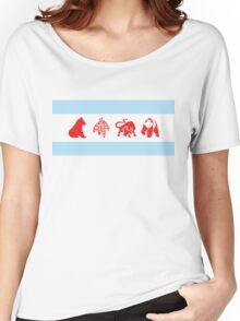 Chicago Flag with Teams Women's Relaxed Fit T-Shirt