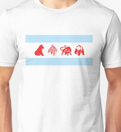 Chicago Flag with Teams Unisex T-Shirt