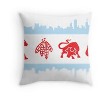 Chicago Flags with Teams and Skyline Throw Pillow