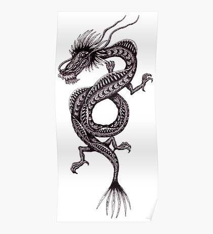 Chinese Dragon black and white pen ink drawing Poster