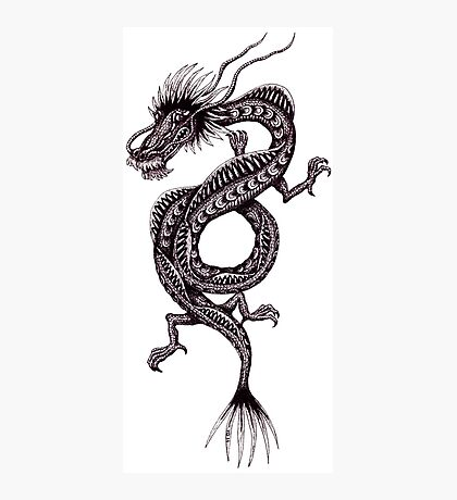 Chinese Dragon black and white pen ink drawing Photographic Print