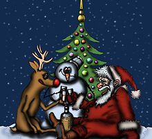 Funny Christmas Drinking Party drawing by Vitaliy Gonikman