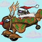 Funny Santa on Rudolph plane drawing by Vitaliy Gonikman