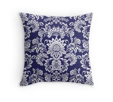 white and blue damask Throw Pillow