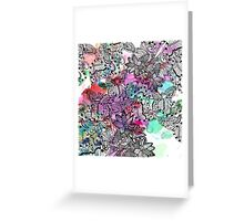 Modern colorful watercolor tangle floral pattern  Greeting Card