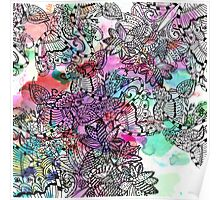 Modern colorful watercolor tangle floral pattern  Poster