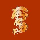 Golden Dragon on Chinese Red by Heidi Hermes