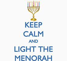 HANUKKAH - KEEP CALM AND LIGHT THE MENORAH Womens Fitted T-Shirt