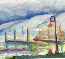 Pier - Watercolor by Meredith Nolan