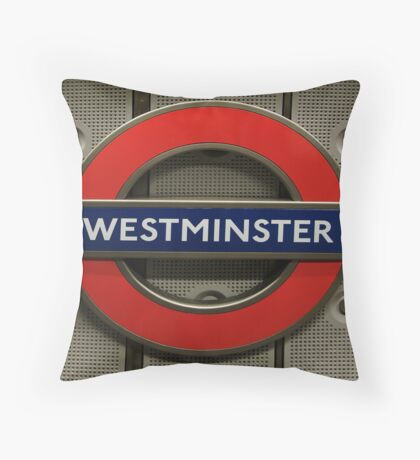 Westminster Tube Stop Throw Pillow