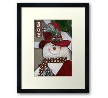 Red Hat Snowman Framed Print
