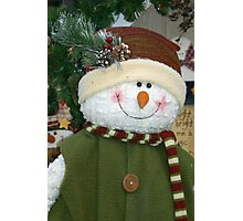 Snowman with Green Vest Photographic Print