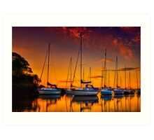 Cramond Harbour Sunset Art Print
