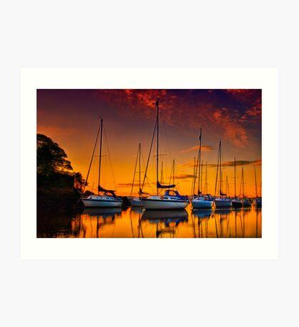 Cramond Harbour Sunset Art Print
