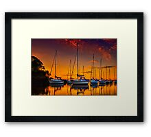 Cramond Harbour Sunset Framed Print