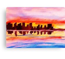 San Diego at sunset, watercolor Canvas Print