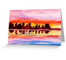 San Diego at sunset, watercolor Greeting Card