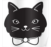 Cool Black Kitty Cat Face Poster