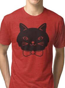 Cool Black Kitty Cat Face Tri-blend T-Shirt