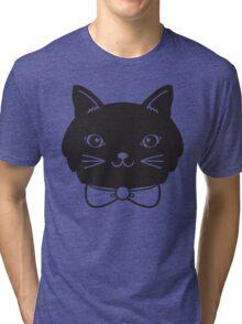 Cool Black Kitty Cat Face Tri-blend T-Shirt