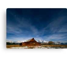 Full Moon Light & Stars Shining over Mormon Row Canvas Print