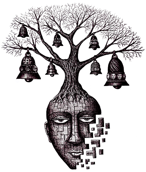 Inner World surreal black and white pen ink drawing by Vitaliy Gonikman
