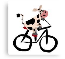 Funky Cool Black and White Cow Riding Bicycle Canvas Print