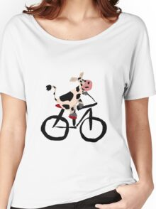 Funky Cool Black and White Cow Riding Bicycle Women's Relaxed Fit T-Shirt