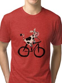 Funky Cool Black and White Cow Riding Bicycle Tri-blend T-Shirt