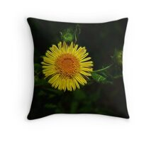 Wild Yellow Fractal Dream Throw Pillow