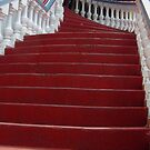 The Red  Stairway to the Iguana Grill by John  Kapusta