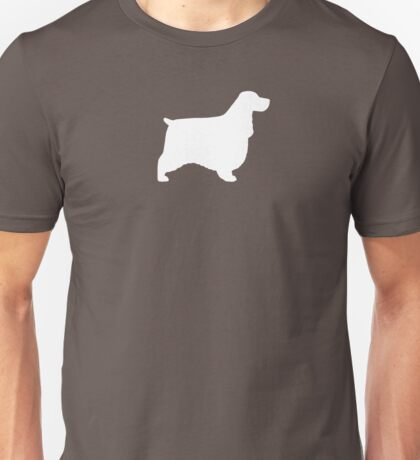 English Cocker Spaniel Silhouette (White) Unisex T-Shirt