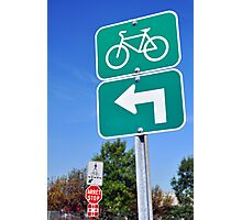 Bicycles turn left sign. Photographic Print