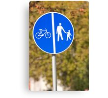 Pedestrian and bicycle crossing sign. Canvas Print